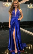 Light Royal Blue Charmeuse V-neck A-line Long Sex Prom Dress(JT3793)