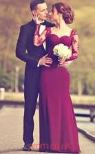 Dark Fuchsia Chiffon Lace Sweetheart Long Sleeve Trumpet/Mermaid Floor-length Celebrity Dress(JT3796)