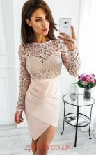 Beige Lace Chiffon Sheath/Column Bateau Long Sleeve Mini Cocktail Dress(JT3798)