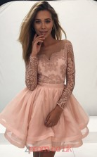 Blushing Pink Lace Organza A-line Illusion Long Sleeve Mini Cocktail Dress(JT3799)