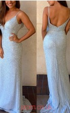Sky Blue Sequined Sheath/Column V-neck Sweep Train Prom Dress(JT3803)