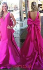 Fuchsia Taffeta Trumpet/Mermaid V-neck Court Train Celebrity Dress(JT3804)