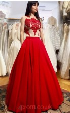 Red Satin A-line Illusion Floor-length Prom Dress(JT3806)