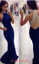 Blue Spandex Trumpet/Mermaid Halter Sweep Train Sex Prom Dress(JT3809)