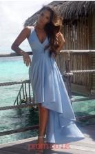 Sky Blue Satin Chiffon A-line V-neck Asymmetrical Cocktail Dress(JT3812)