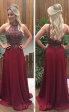 Burgundy Chiffon A-line Halter Floor-length Evening Dress(JT3815)
