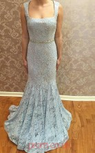 Sky Blue Lace Trumpet/Mermaid Square Sweep Train Prom Dress(JT3822)
