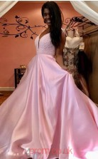 Blushing Pink Charmeuse Trumpet/Mermaid V-neck Sweep Train Prom Dress(JT3825)