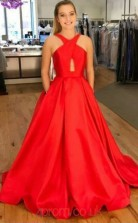 Red Taffeta Trumpet/Mermaid V-neck Sweep Train Celebrity Dress(JT3831)