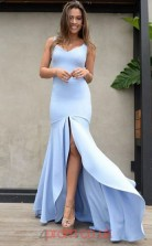 Sky Blue Satin Chiffon Trumpet/Mermaid V-neck Floor-length Celebrity Dress(JT3833)