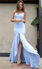Sky Blue Satin Chiffon Trumpet/Mermaid V-neck Floor-length Celebrity Dress(JT3833)