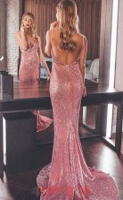 Pink Sequined Trumpet/Mermaid V-neck Sweep Train Sex Prom Dress(JT3834)