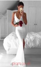White Lace Trumpet/Mermaid V-neck Sweep Train Sex Prom Dress(JT3835)