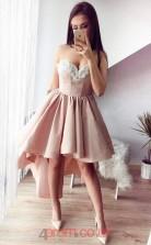 Nude Charmeuse A-line Sweetheart Mini Cocktail Dress(JT3841)