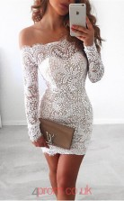 Ivory Lace Sheath/Column Off The Shoulder Long Sleeve Mini Cocktail Dress(JT3842)