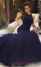 Navy Blue Lace Tulle Trumpet/Mermaid Jewel Floor-length Prom Dress(JT3845)