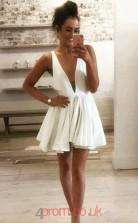 Ivory Chiffon A-line V-neck Mini Mini Cocktail Dress(JT3850)