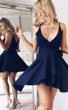 Navy Blue Satin Chiffon A-line V-neck Mini Cocktail Dress(JT3862)