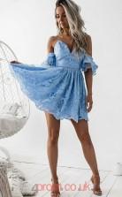 Light Blue Lace A-line Straps Mini Cocktail Dress(JT3865)
