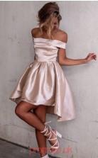 Blushing Pink Taffeta A-line Off The Shoulder Short Sleeve Mini Cocktail Dress(JT3866)