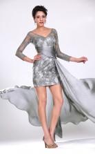 Silver Lace,Chiffon Sheath V-neck Short/Mini 3/4 Length Sleeve Cocktail Dresses(PRJT04-0387)