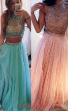Pearl Pink Tulle A-line Halter Floor-length Two Piece Prom Dresses(JT3878)