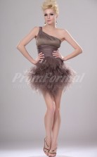 Brown Tulle,Chiffon Princess One Shoulder Short/Mini Cocktail Dresses(PRJT04-0388)