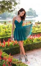 Ink Blue Tulle A-line Straps Short/Mini Cocktail Dresses(JT3882)