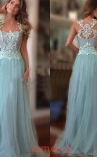 Sky Blue Lace Tulle A-line Illusion Floor-length Evening Dresses(JT3885)