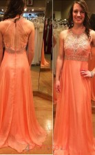 Pink 30 Chiffon A-line Jewel Floor-length Evening Dresses(JT3888)