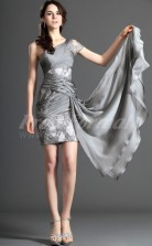 Silver Lace,Chiffon Sheath One Shoulder Short/Mini With Sleeves Cocktail Dresses(PRJT04-0389)