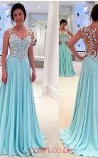 Pool Chiffon A-line v-neck Short Sleeve Floor-length Evening Dresses(JT3890)