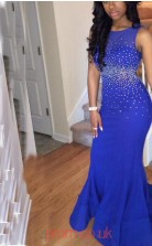 Light Royal Blue Chiffon Trumpet/Mermaid Bateau Floor-length Graduation Dresses(JT3891)