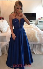 Royal Blue Stretch Satin A-line Illusion Short Sleeve Floor-length Evening Dresses(JT3896)