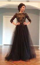 Black Tulle Lace A-line Bateau 3/4 Length Sleeve Floor-length Evening Dresses(JT3899)