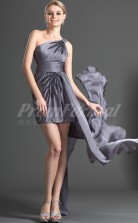 Gray Chiffon Sheath One Shoulder Short/Mini Cocktail Dresses(PRJT04-0390)