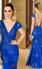 Light Royal Blue Lace Trumpet/Mermaid V-neck Short Sleeve Floor-length Cocktail Dresses(JT3901)