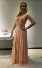 Pearl Pink Chiffon A-line Illusion Floor-length Evening Dresses(JT3907)