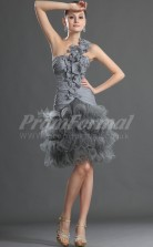 Gray Organza,Chiffon Princess One Shoulder Knee-length Cocktail Dresses(PRJT04-0391)