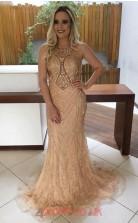 Champange Tulle Lace Trumpet/Mermaid Illusion Floor-length Prom Dresses(JT3910)