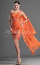 Orange Lace,Chiffon Sheath One Shoulder Short/Mini Cocktail Dresses(PRJT04-0392)