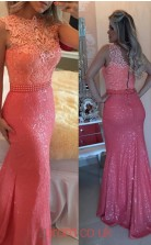 Pink Sequined lace Trumpet/Mermaid Bateau Long Evening Dresses(JT3921)
