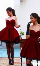 Burgundy Satin A-line Sweetheart Short/Mini Cocktail Dresses(JT3923)