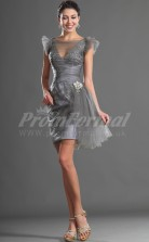 Gray Tulle,Stretch Satin Sheath V-neck,Bateau Short/Mini With Sleeves Cocktail Dresses(PRJT04-0393)