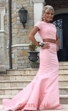 Pink Taffeta Trumpet/Mermaid Bateau Short Sleeve Long Two Piece Prom Dresses(JT3936)