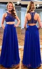 Royal Blue 30D Chiffon A-line Jewel Long Two Piece Prom Dresses(JT3939)