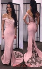 Pink Lace Chiffon Trumpet/Mermaid Off The Shoulder Short Sleeve Long Sex Prom Dresses(JT3951)