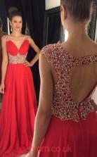Red Chiffon A-line V-neck Short Sleeve Floor-length Evening Dresses(JT3960)