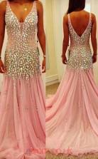 Pink Tulle A-line V-neck Floor-length Prom Dresses(JT3963)