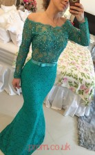 Turquoise Lace Trumpet/Mermaid Off The Shoulder Long Sleeve Floor-length Prom Dresses(JT3965)
